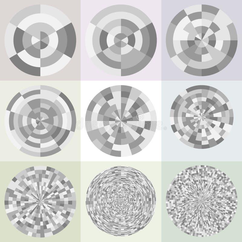 极性栅格的模板 动画片例证鼠标被设置的向量 向量例证