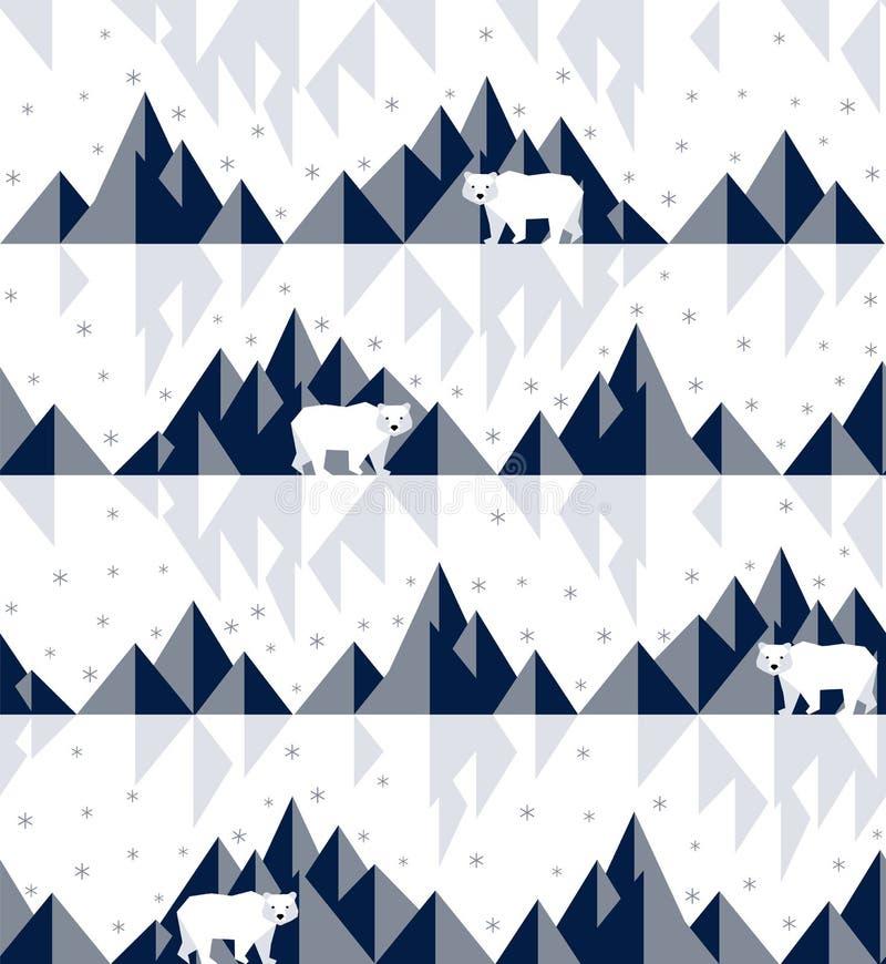 极性熊的冰山 向量例证