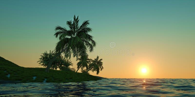 极端一个热带海岛的详细和现实高分辨率3D例证有棕榈的 免版税库存照片