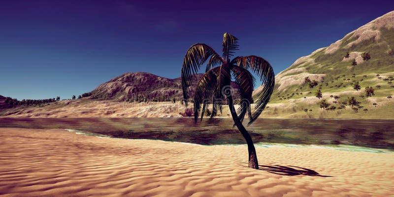 极端一个豪华假期的详细和现实高分辨率3D例证在一个热带海岛的 库存照片