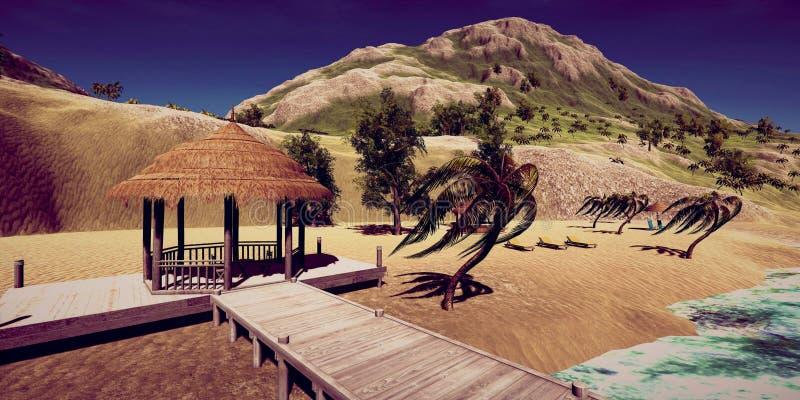 极端一个豪华假期的详细和realistc高分辨率3D例证在一个tropcial海岛的 免版税库存图片