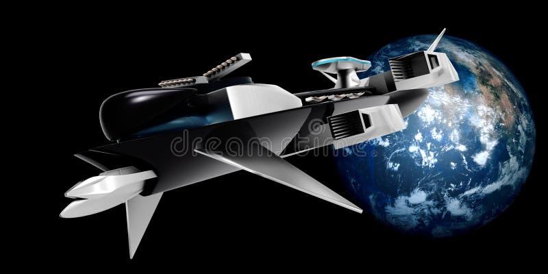 极端一次太空船飞行的详细和现实高分辨率3D例证从Exoplanet的通过空间 库存例证