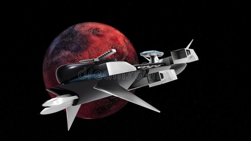 极端一次太空船飞行的详细和现实高分辨率3D例证从Exoplanet的通过空间 皇族释放例证