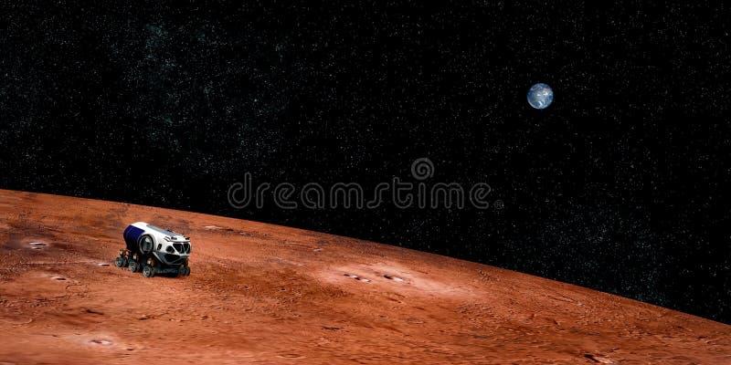 极端一辆探险空间车的详细和现实高分辨率3D图象在火星的 射击从外层空间 库存照片