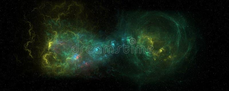 极端两合并的星系的详细和现实高分辨率例证 从空间的射击 库存例证