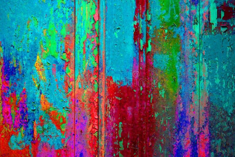 极端五颜六色的木纹理蓝色桃红色绿色红色 库存图片