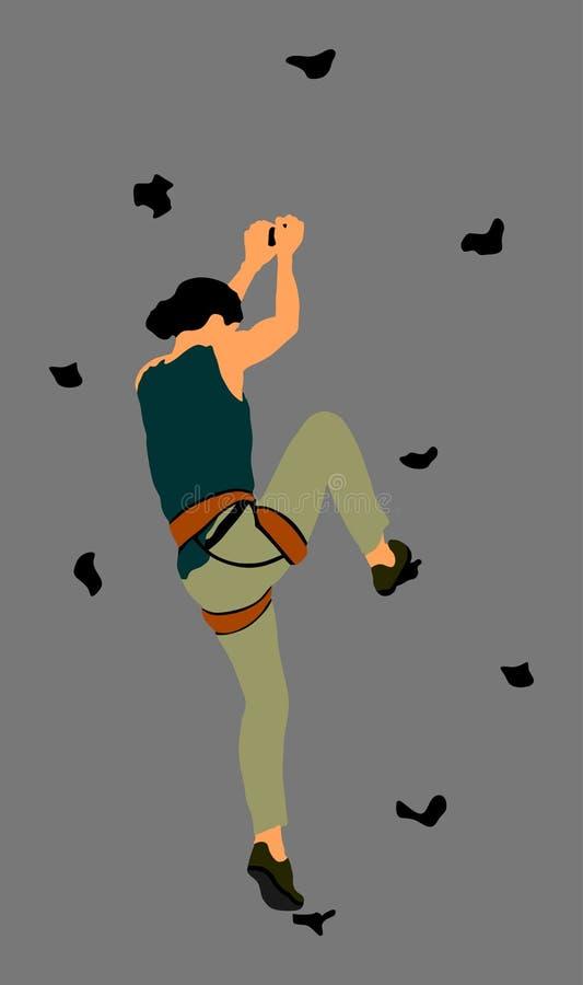 极端体育没有roop的女孩攀登 妇女上升的传染媒介例证,隔绝在背景 体育在出现的周末行动 库存例证