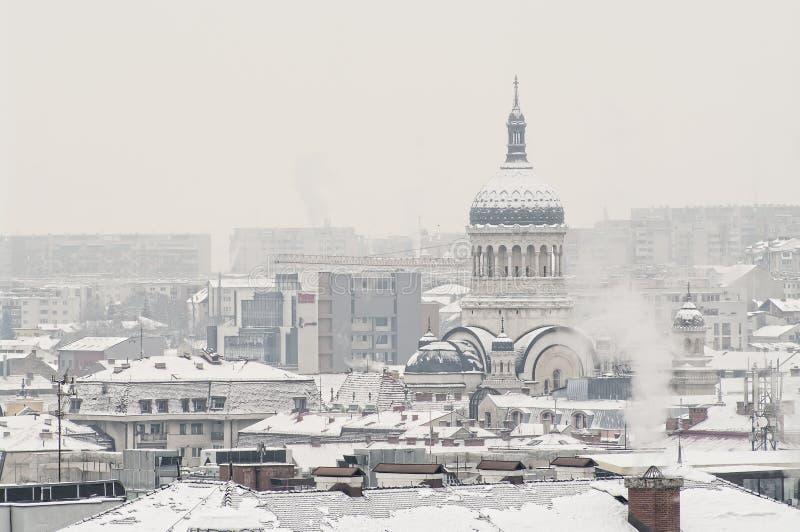 极端冬天在罗马尼亚 库存照片