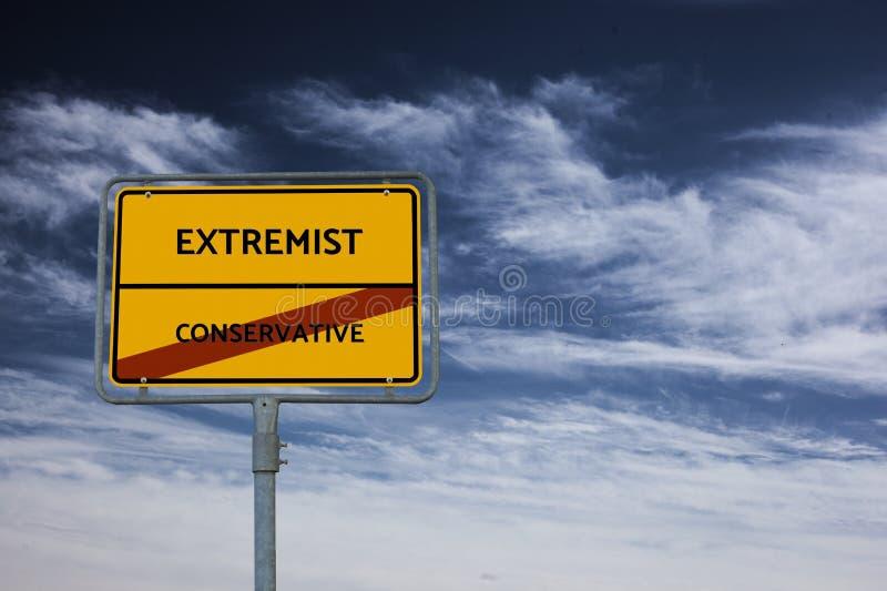 极端分子-保守主义者-与词与题目极端主义相关,词,图象,例证的图象 图库摄影