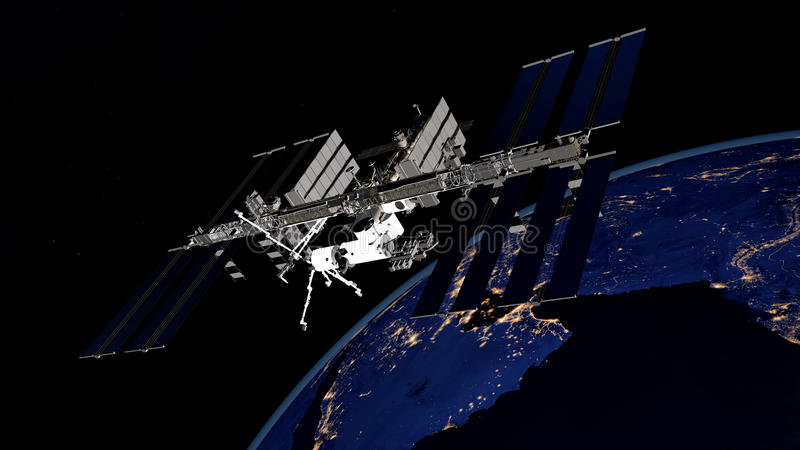 极端卫星轨道的地球的详细和现实高分辨率3D图象 射击从空间 库存图片