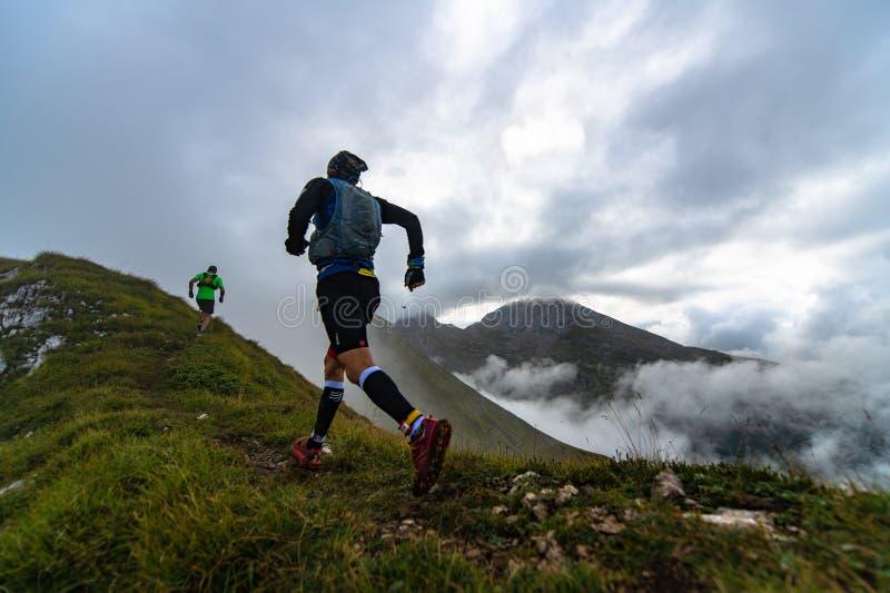 极端山种族竞争skymarathon 两位运动员comp 免版税库存照片