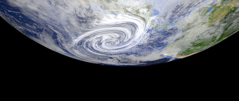 极端接近中美洲的飓风的详细和现实高分辨率3d例证 从空间的射击 库存例证
