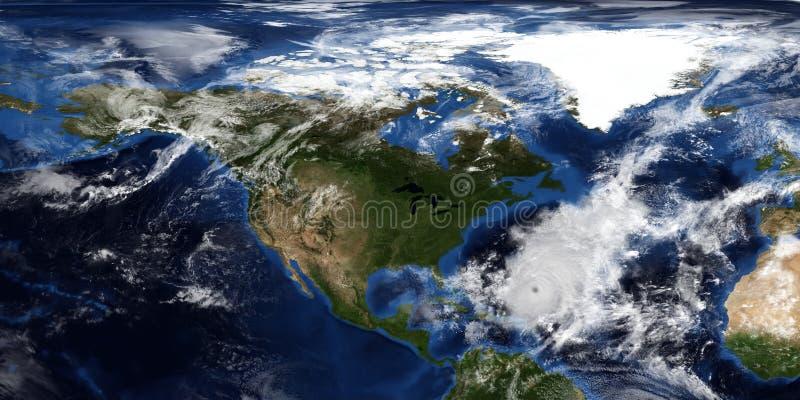 极端接近北美的飓风的详细和现实3D例证 射击从空间 这个图象的元素 图库摄影