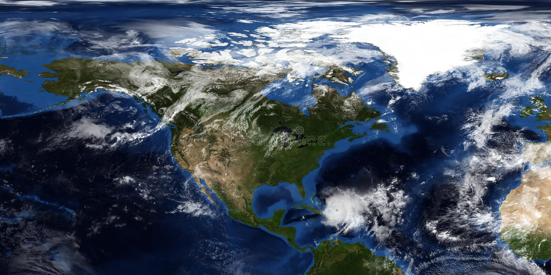 极端接近北美的飓风的详细和现实3D例证 射击从空间 这个图象的元素 库存照片