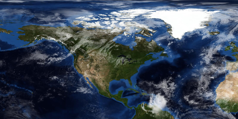 极端接近北美的飓风的详细和现实3D例证 射击从空间 这个图象的元素 免版税库存图片
