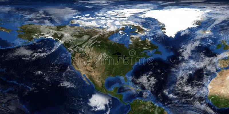 极端接近北美的飓风的详细和现实3D例证 射击从空间 这个图象的元素 免版税库存照片
