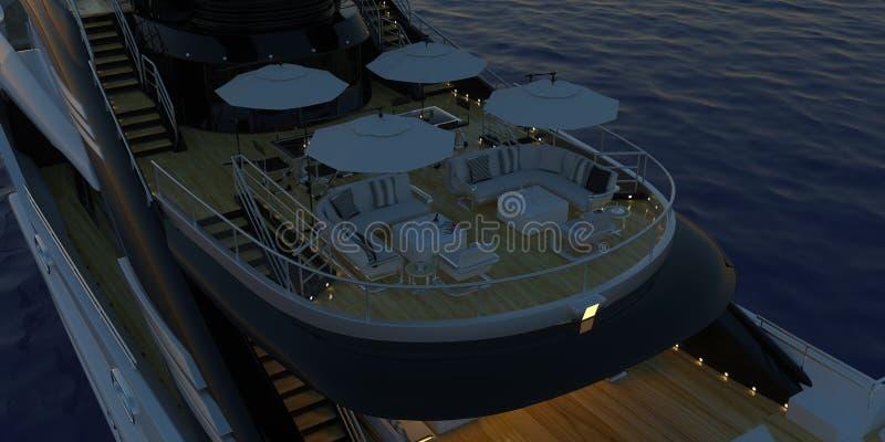 极端接近有棕榈的一条超级游艇的详细和现实高分辨率3D图象一个热带海岛-例证 免版税库存图片