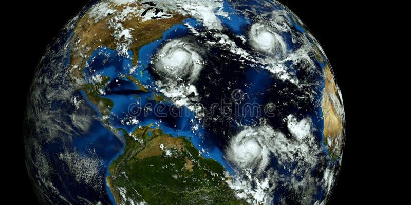 极端接近美国的2场飓风的详细和现实高分辨率3D例证 射击从空间 元素  库存照片
