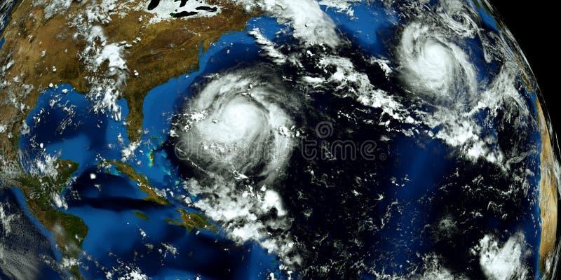 极端接近美国的2场飓风的详细和现实高分辨率3D例证 射击从空间 元素  库存图片