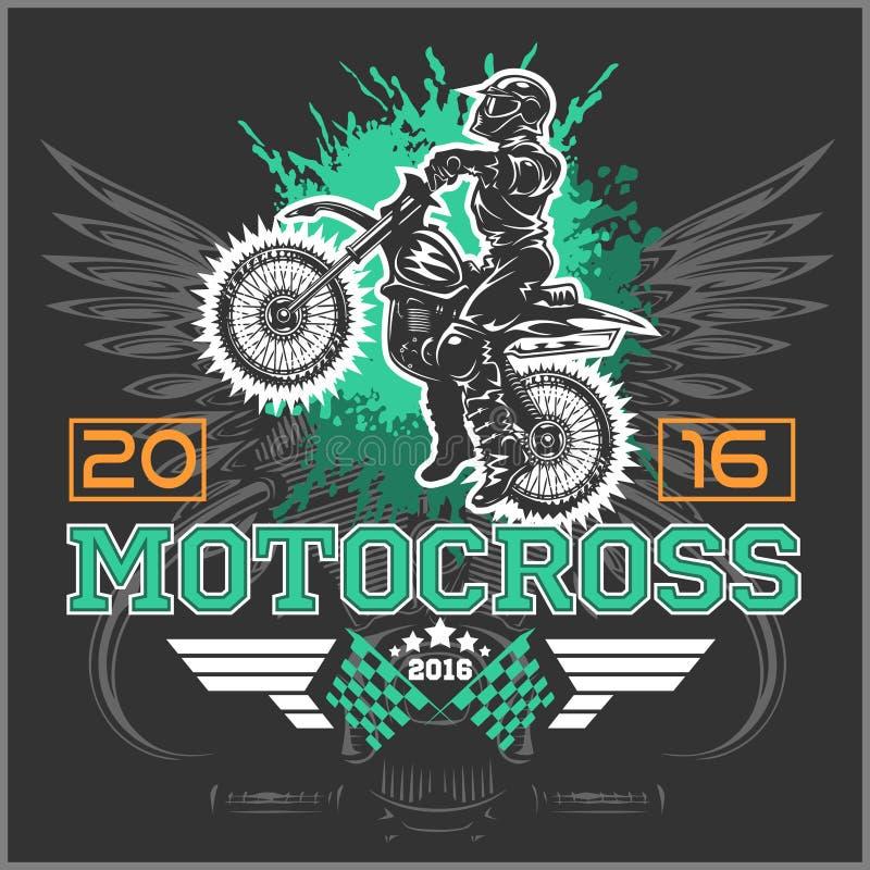 极端摩托车越野赛 象征, T恤杉设计 皇族释放例证