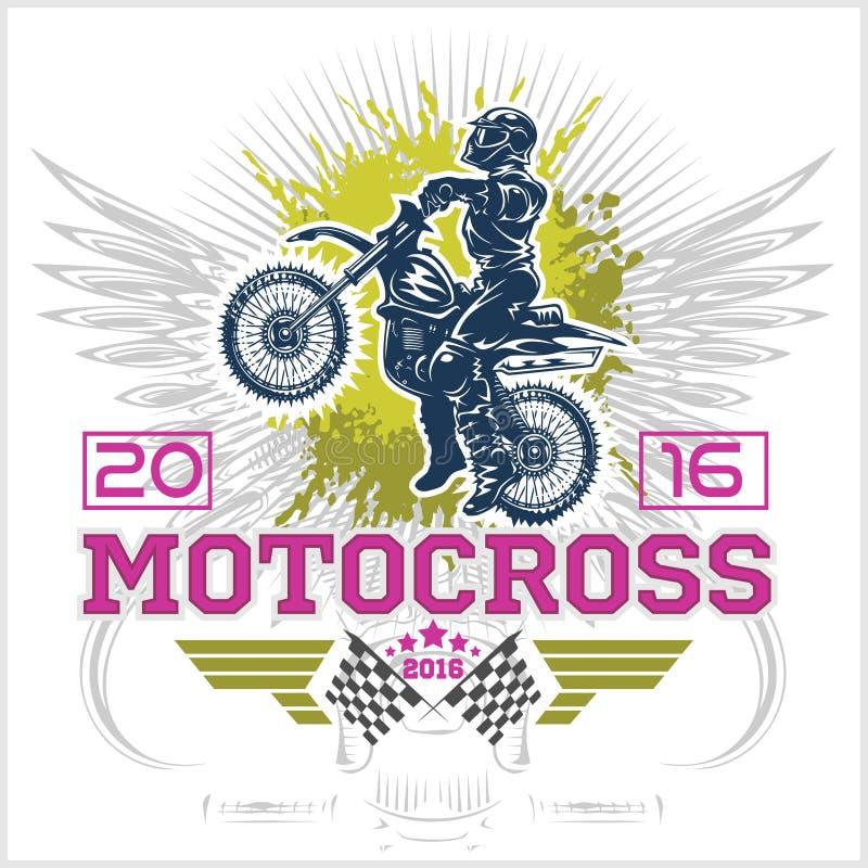 极端摩托车越野赛 象征, T恤杉设计 向量例证