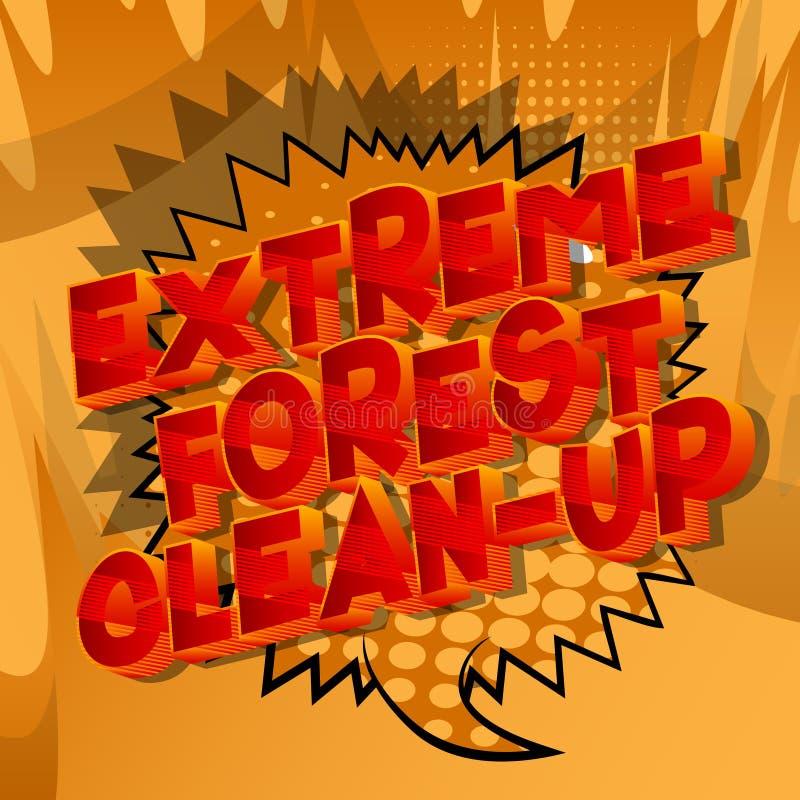 极端森林清洁-漫画样式词 库存例证