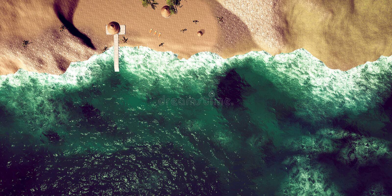 极端热带海滩的详细和现实高分辨率3D例证 免版税库存照片