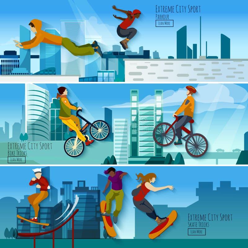 极端被设置的城市体育平的横幅 向量例证