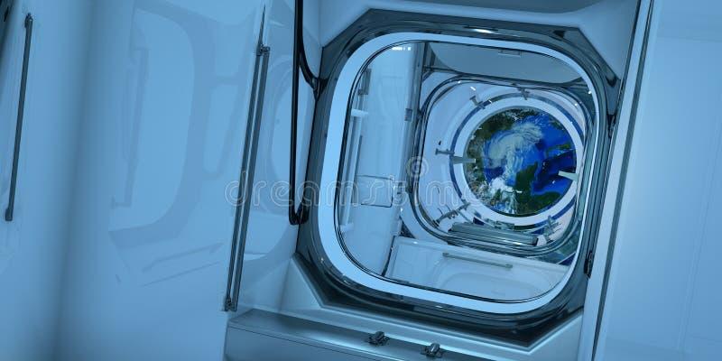 极端详细和现实高分辨率3D例证ISS国际空间站内部  免版税图库摄影