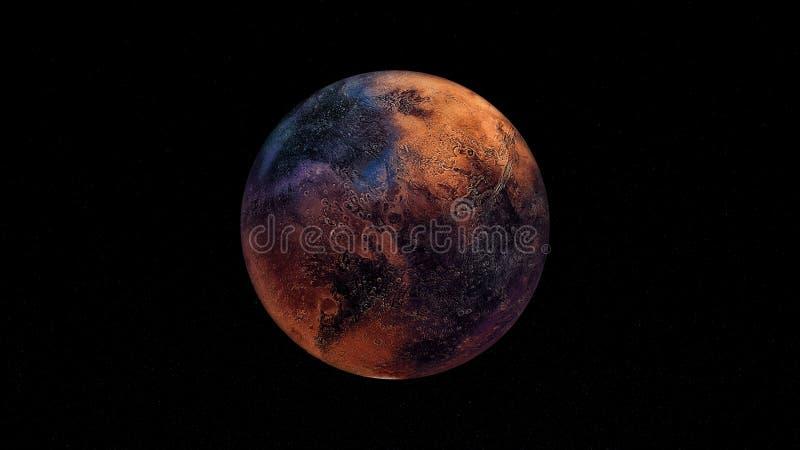 极端详细和现实高分辨率3D例证Exoplanet 射击从空间 皇族释放例证