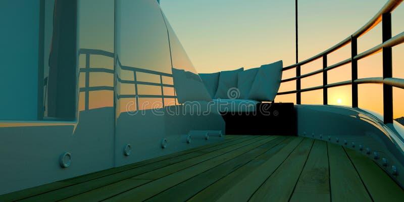 极端豪华兆游艇的详细和现实高分辨率3d例证 免版税库存图片