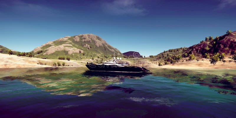 极端豪华超级游艇的详细和现实高分辨率3D例证在一个热带海岛的 免版税库存照片