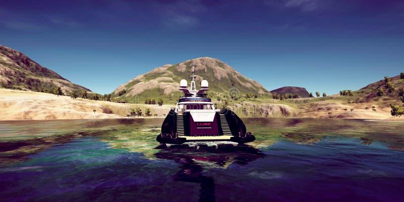 极端豪华超级游艇的详细和现实高分辨率3D例证在一个热带海岛的 免版税库存图片