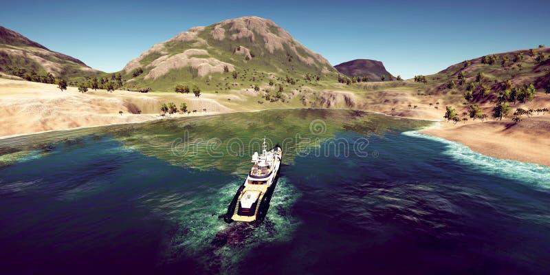 极端豪华超级游艇的详细和现实高分辨率3D例证在一个热带海岛的 库存图片