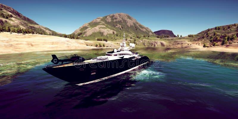 极端豪华超级游艇的详细和realistc高分辨率3D例证在一个tropcial海岛的 免版税图库摄影