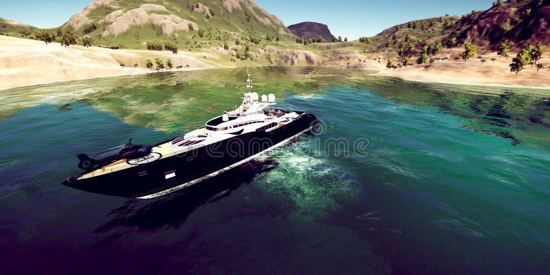 极端豪华超级游艇的详细和realistc高分辨率3D例证在一个tropcial海岛的 库存照片