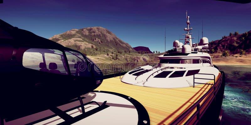 极端豪华超级游艇的详细和realistc高分辨率3D例证在一个tropcial海岛的 图库摄影