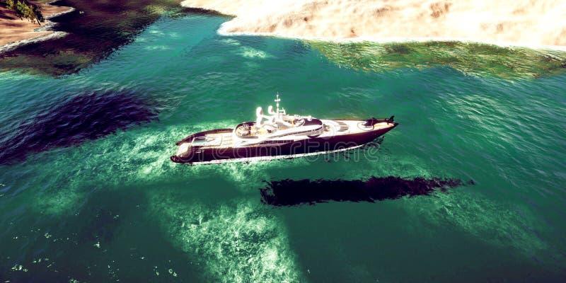 极端豪华超级游艇的详细和realistc高分辨率3D例证在一个tropcial海岛的 免版税库存图片