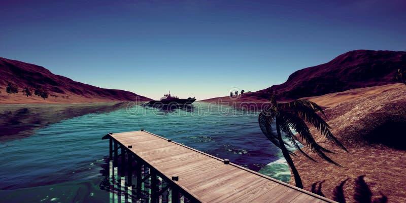 极端豪华超级游艇的详细和realistc高分辨率3D例证在一个tropcial海岛的 免版税库存照片