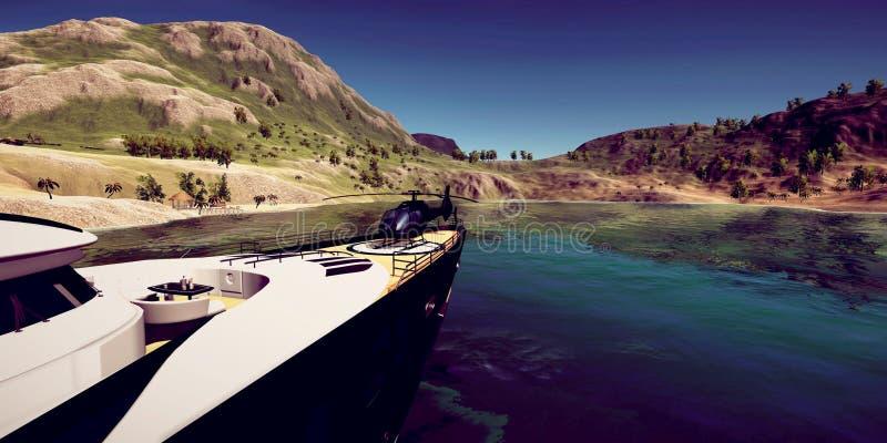 极端豪华超级游艇的详细和realistc高分辨率3D例证在一个tropcial海岛的 库存图片