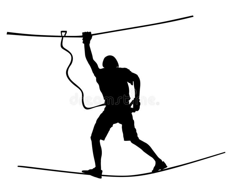极端运动员中断与绳索 人上升的传染媒介剪影 炫耀在冒险公园绳梯的周末行动 皇族释放例证