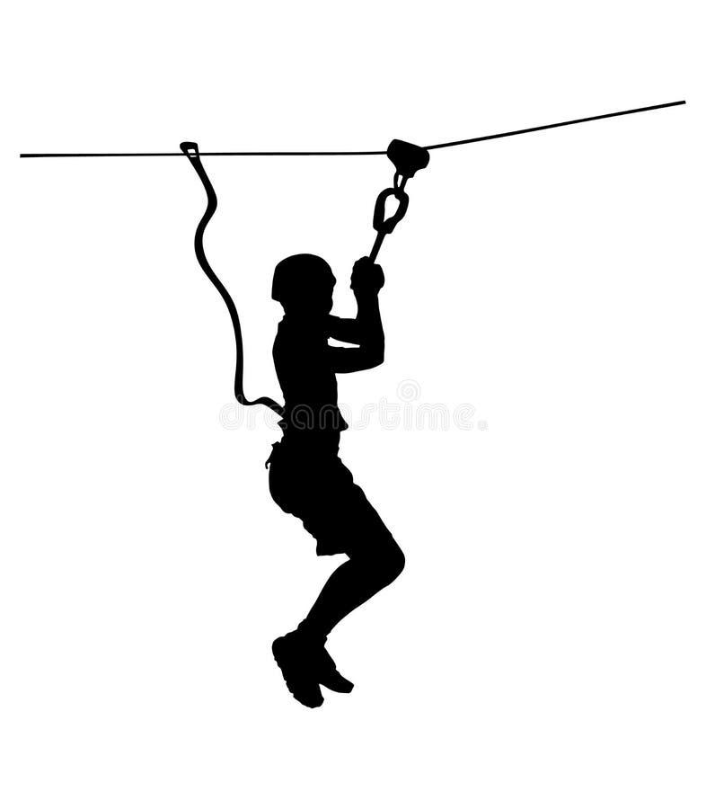 极端运动员中断与绳索 人上升的传染媒介剪影 库存例证