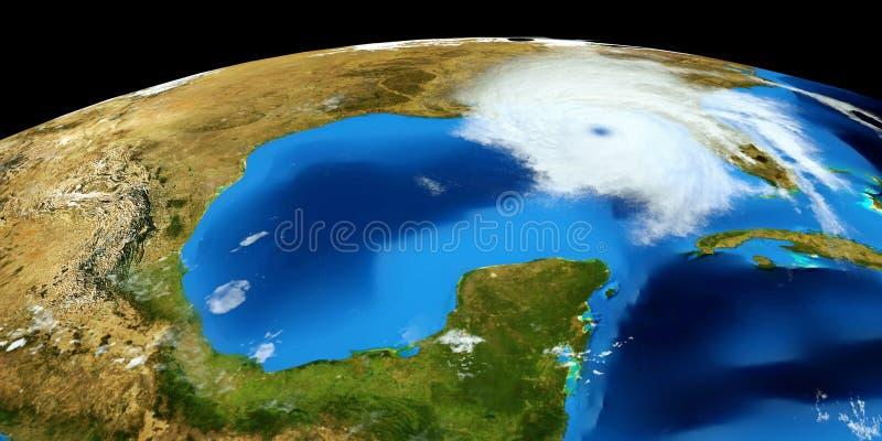 极端飓风的详细和现实高分辨率3D例证 射击从空间 这个图象的元素是furni 库存图片