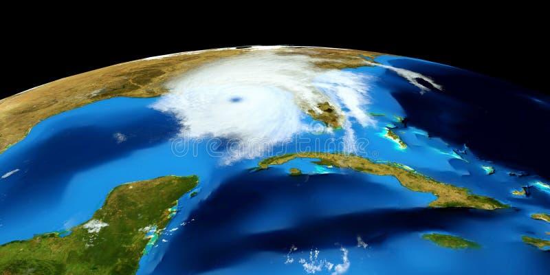 极端飓风的详细和现实高分辨率3D例证 射击从空间 这个图象的元素是furni 库存照片