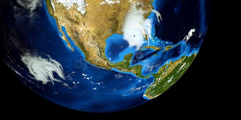 极端飓风的详细和现实高分辨率3D例证 射击从空间 这个图象的元素是furni 图库摄影