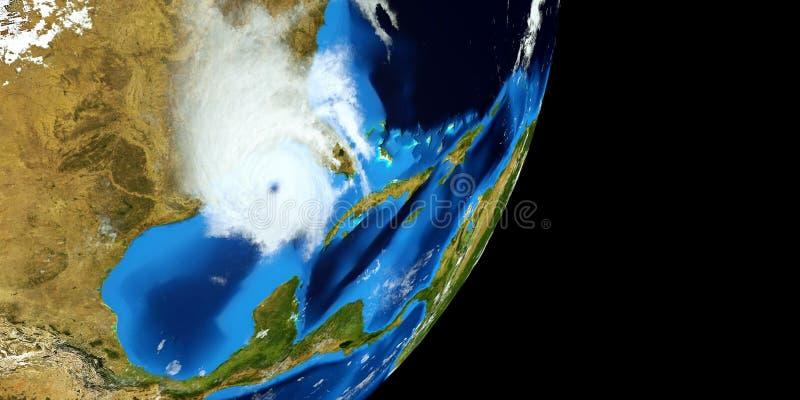 极端飓风的详细和现实高分辨率3D例证 射击从空间 这个图象的元素是furni 免版税库存图片