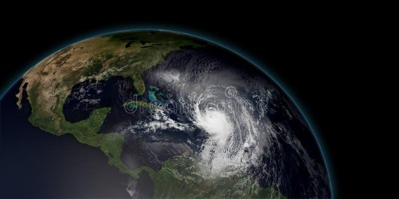 极端飓风的详细和现实高分辨率3D例证 向量例证