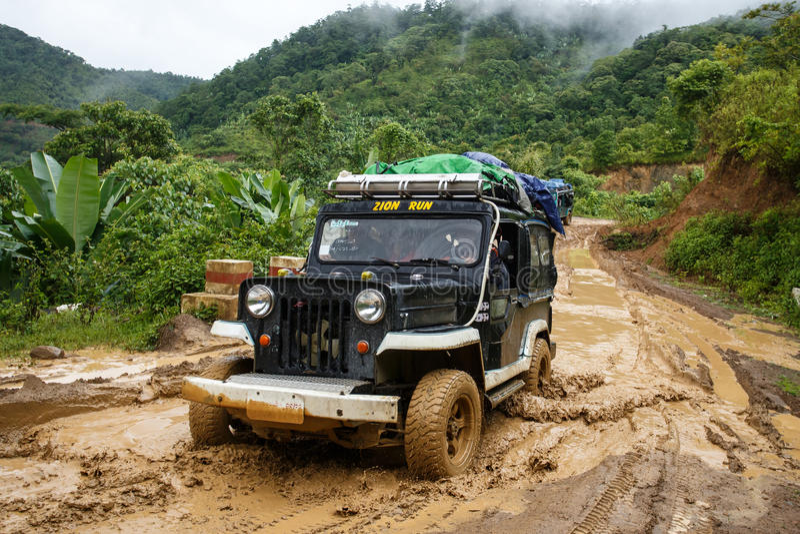 极端驾驶通过钦邦,缅甸 库存图片