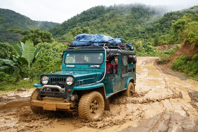 极端驾驶通过钦邦,缅甸 库存照片