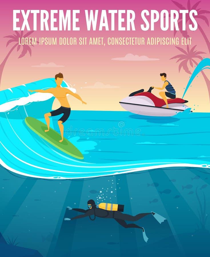 极端水上运动平的构成海报 向量例证